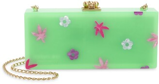 Edie Parker Floral Slim Acrylic Box Clutch