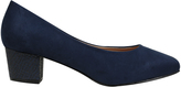 Yours Clothing Navy Blue COMFORT INSOLE Suedette Heeled Court Shoe In EEE Fit