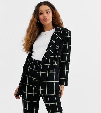 Asos DESIGN petite neon grid check suit blazer-Multi