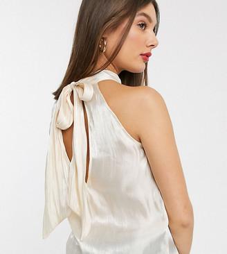 Glamorous Tall sleeveless top with tie neck in textured satin-Cream