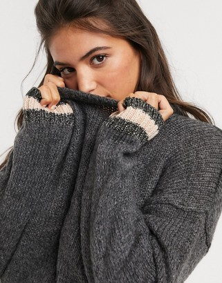 Brave Soul luxe crew neck jumper with white trim