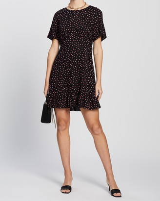 Dorothy Perkins Spot Angel Sleeve Empire Seam Fit-and-Flare Dress