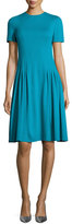 Escada Short-Sleeve Dondi Pleated Dress, Bay