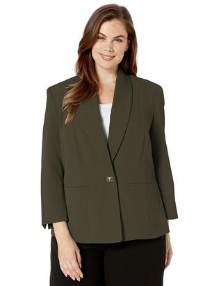 Kasper Women's Plus Size 1 Button Stretch Crepe Jacket