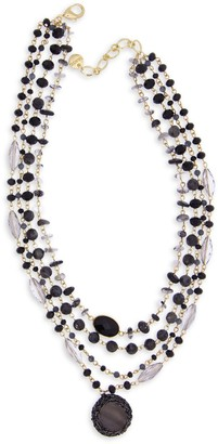 Saachi Marie Goldtone, Agate, Glass & Mother-Of-Pearl Beaded Necklace