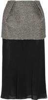 Maison Margiela Layered Bonded Tweed And Chiffon Midi Skirt - Gray