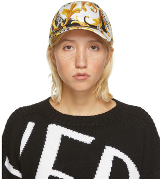Versace Yellow and White Acanthus Print Cap