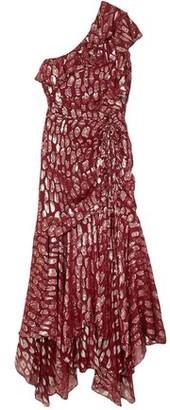 Veronica Beard Leighton One-shoulder Ruffled Metallic Fil Coupe Silk-blend Dress