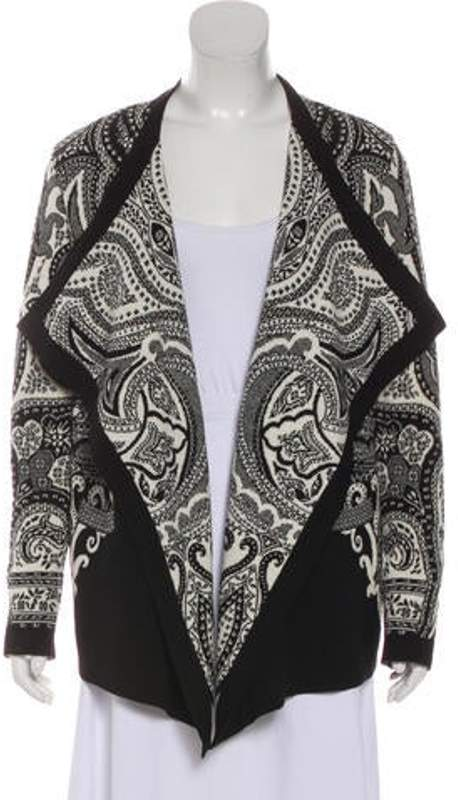 Etro Wool-Blend Patterned Cardigan Black Wool-Blend Patterned Cardigan