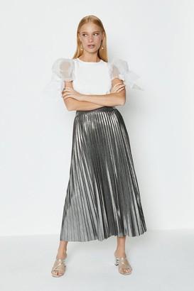 Coast Metallic Pleated Midi Skirt
