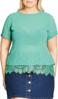 City Chic Lace Underlay Chiffon Top