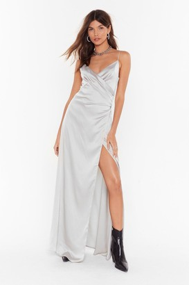 Nasty Gal Womens When the Moon's Out Satin Maxi Dress - Grey - 12