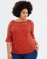 3/4 Sleeve Lace Yoke Fit-and-Flare Top