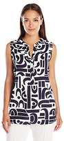Foxcroft Women's Sleeveless Abstract Block Print Blouse