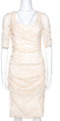 Dolce & Gabbana Cream Lace Draped Short Sleeve Dress M