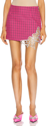 Area Crystal Butterfly Cutout Mini Skirt in Pink & Clear | FWRD