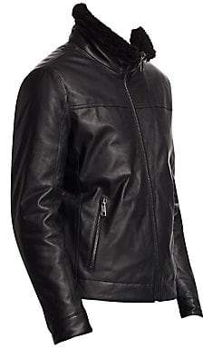 Saks Fifth Avenue Men's COLLECTION Faux Shearling Collar Leather Jacket