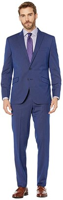 Kenneth Cole Reaction Slim Fit Stretch Performance Suit with 32 Finished Bottom Hem (Blue Stripe) Men's Suits Sets