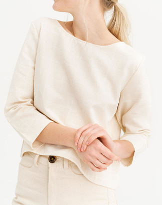 Madewell Tribe Alive Windowpane Boatneck Long-Sleeve Top