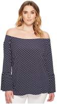 MICHAEL Michael Kors Plus Size Simple Dot Peasant Top Women's Clothing