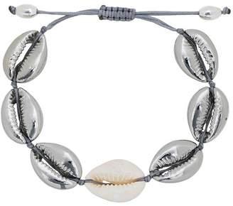 Puka Tohum cream and metallic silver shell large bracelet
