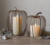Pottery Barn Beaded Wire Pumpkin Hurricane - Weathered Metal