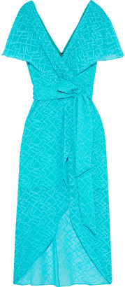 Alice + Olivia Darva Wrap-effect Fil-coupe Silk And Cotton-blend Dress