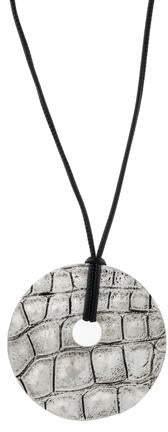 Saint Laurent Textured Circle Pendant Necklace