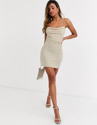 Asos Design DESIGN cami mini slip dress in velvet with lace up back-Pink