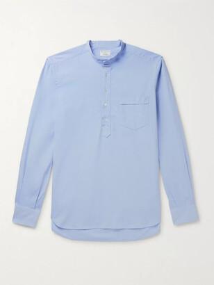 Kingsman Grandad-Collar Washed Cotton Oxford Half-Placket Shirt