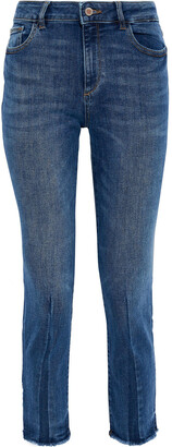 DL1961 Mara Cropped Frayed Mid-rise Skinny Jeans