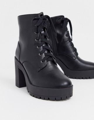 London Rebel lace up platform boots in black