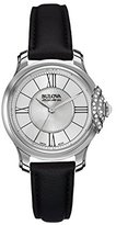 Bulova Women's Quartz Stainless Steel and Black Leather Dress Watch (Model: 63R142)