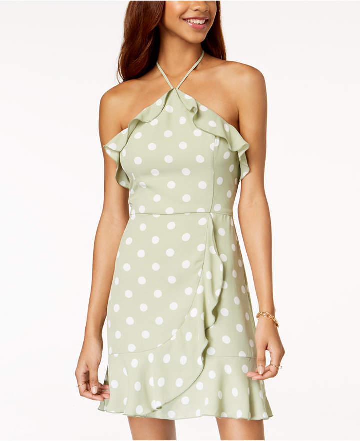 Teeze Me Juniors' Ruffled Polka-Dot Halter Dress