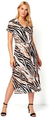 M&Co Roman Originals animal print collar midi dress