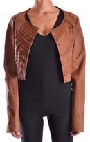 Twin-Set Women's Brown Leather Outerwear Jacket.