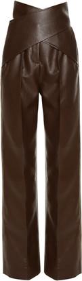 ALEKSANDRE AKHALKATSISHVILI High-Rise Faux Leather Wrap Pants