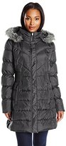 Via Spiga Women's Quilted Down Coat with Faux-Fur Collar