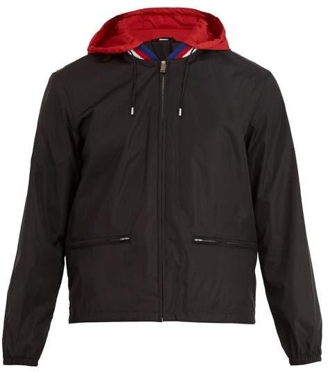 Gucci Logo Print Hooded Technical Jacket - Mens - Black