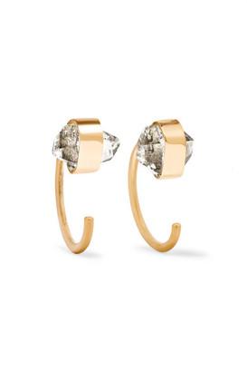 Melissa Joy Manning 14-karat Gold Herkimer Diamond Earrings