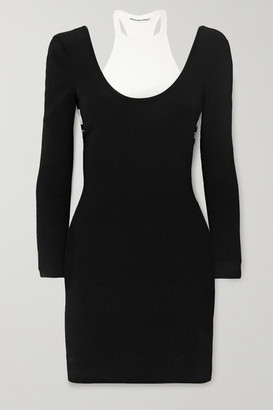 Alexander Wang Layered Jersey And Ribbed Cotton-blend Mini Dress - Black