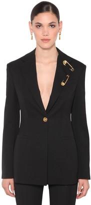 Versace Cady Virgin Wool Blend Crepe Blazer