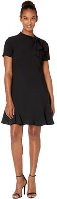 CeCe Short Sleeve A-Line Dress with Bow (Rich Black) Women's Dress