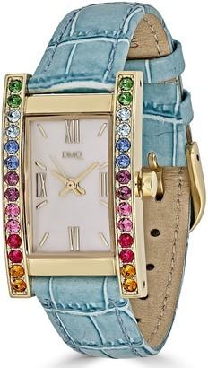 Diamonique Rainbow Tank Goldtone Stainless Leather Strap Watch