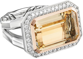 David Yurman Novella 17mm Stone and Diamond Ring in Citrine