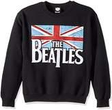 Bravado Mens The Beatles Distressed British Flag Crew Sweatshirt, Black