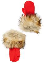 Kate Spade Faux Fur Cuff Woodland Critters Wool Mittens