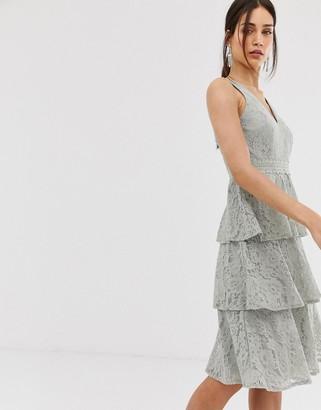 Little Mistress lace tiered midi dress in waterlily-Green