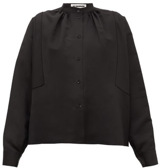 Jil Sander Sunday P.m. Gathered-neck Satin Blouse - Black