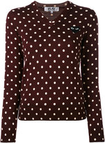 Comme des Garcons dotted V-neck jumper - women - Wool - XS